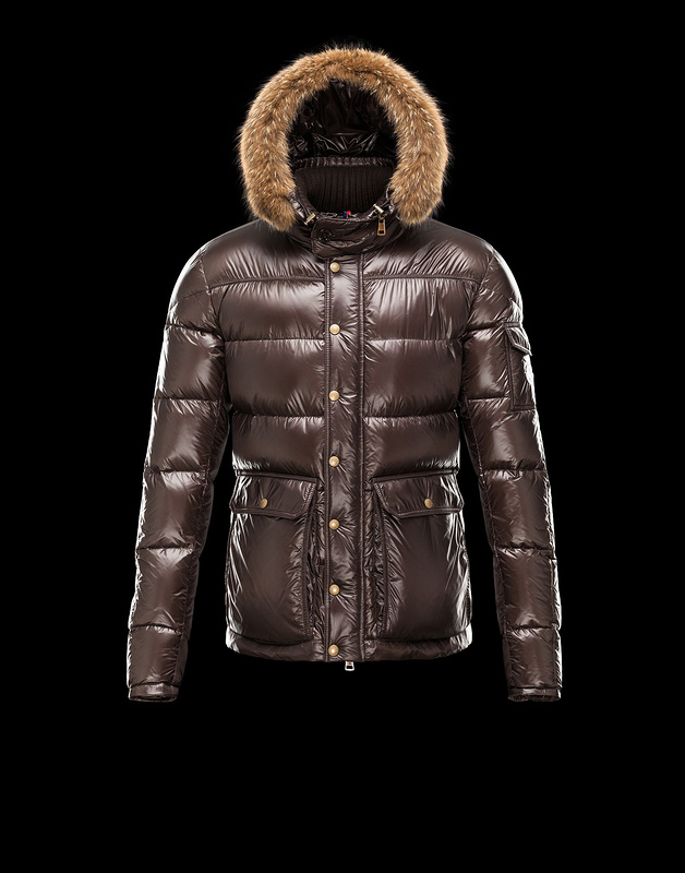 New Cheap Moncler Men Jackets Brown With Fur Cap Sale NA1014